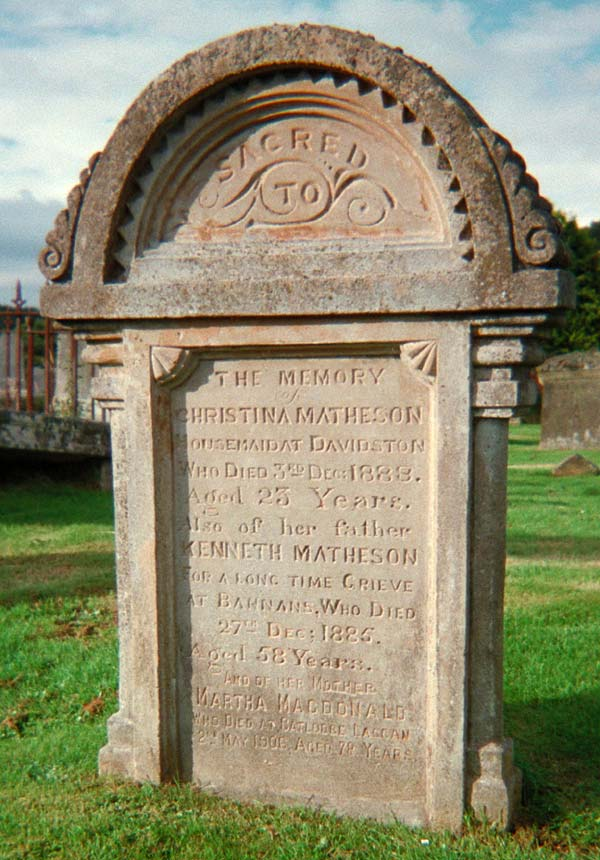 Grave of Christina Matheson, d. 1888