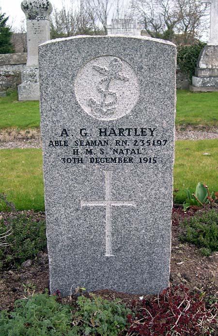 Grave of A. G. Hartley, HMS Natal, d.1915