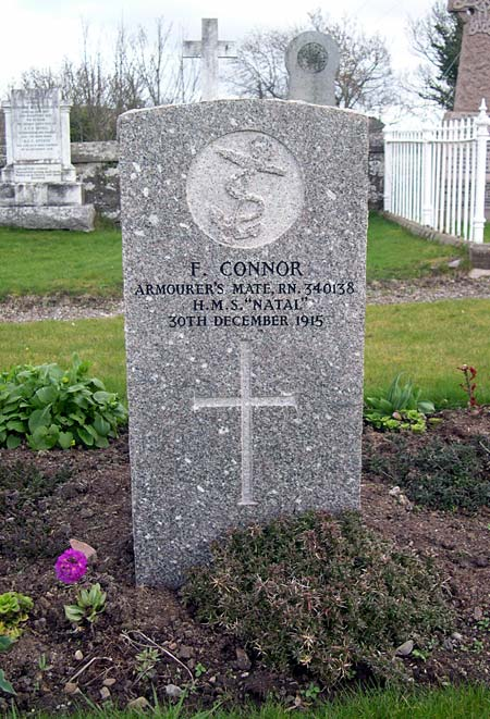 Grave of F. Connor, HMS Natal, d.1915