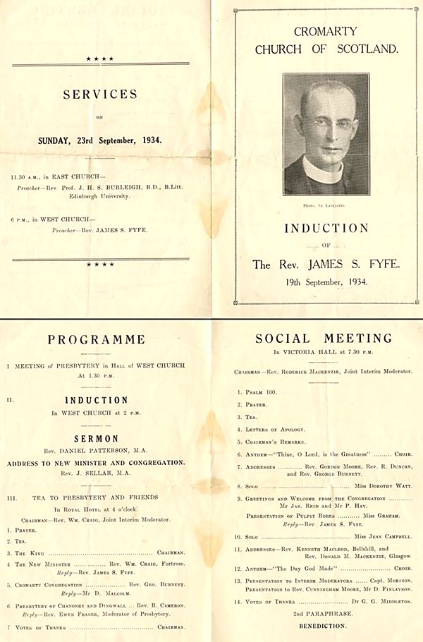 Programme for Induction of Minister - 1934