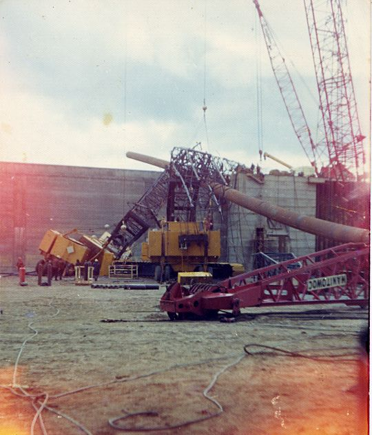 Crane accident in Nigg graving dock - c1980