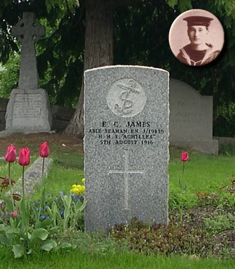 Grave of Able Seaman EC James - 2004