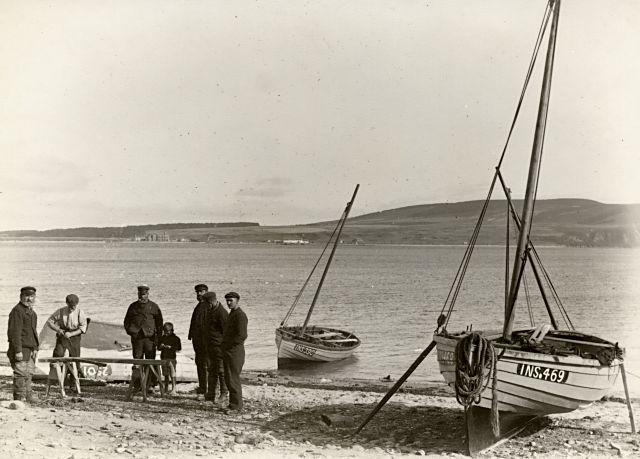 Fishermen on the beach - c1909