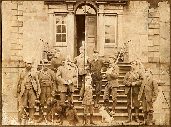 Shooting Party on the steps of Cromarty House
