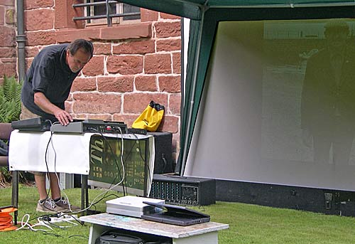 Karel Fialka playing in Cromarty Courthouse Garden